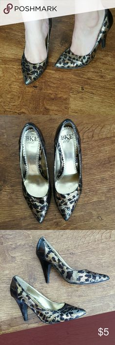 """Metallic Pointed Leopard Heels I purchased these used for a costume but they are too big for me. Size 9. They do have scuffing on the backs and the heels. They are not perfect by any means but still pretty cute! 3"""" heel. BKE Shoes Heels"""