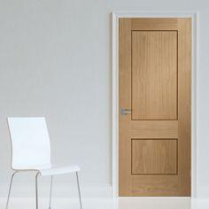 Bespoke Piacenza Oak 2 Panel Flush Door with Groove Design.  #internaldoors #bespokeoakdoors #interiorbespokedoors