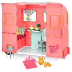 Our Generation® RV Camper Pink : Target Our Generation Doll Accessories, Our Generation Dolls, American Girl Doll Room, American Girl Crafts, Og Dolls, Girl Dolls, Muebles American Girl, Doll Furniture, How To Make Bed
