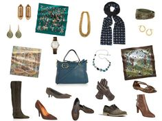 accessories for olive and teal capsule wardrobe