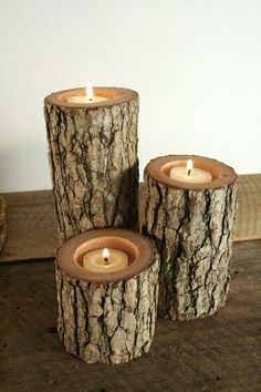 Tree Branch Candle Holders Rustic Candle Sticks Log Candles Repurposed Wood