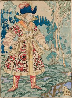 Ivan Bilibin, original drawing illustration for The Princess Frog tale, 1930