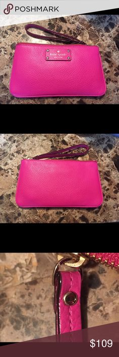"""Kate Spade Zippered Chrissy Berkshire Snapdragon New w/tags Kate Spade Zippered Chrissy Berkshire Road Snap Dragon Pink Leather Wristlet. #669. Color is a Snap Dragon. Does not come with box or dust bag. See photos for authentication. • Material: Leather • Wristlet Strap: 6.5"""" • 8.5""""(L)x0.5""""(W)x5""""(H) • Leather logo plate • Signature fabric  • 14 karat light gold plated hardware • 2 interior slip pockets • Care card included Authentic. All pictures are of the actual item. Price firm unless…"""