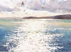 Painting by English watercolourist Richard Thorn Ocean Paintings On Canvas, Abstract Canvas, Oil Paintings, Watercolor Ocean, Watercolor Landscape, Watercolor Techniques, Ocean Waves, Strand, Beauty Art