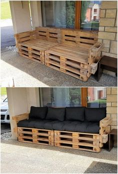 What Can You Make with Wood Pallets? Easy Projects You will probably be finding this creation of wood pallet so eye-catching and peacefully attractive looking. Well, this creation is dedicatedly designed in the artistic. Wood Pallet Couch, Wood Pallet Furniture, Diy Pallet Furniture, Furniture Projects, Wood Pallets, Rustic Furniture, Furniture Layout, Wood Sofa, Pallet Furniture Outdoor Couch
