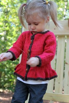 Little Dove Cardigan.  This cardigan with an all over pattern and a bottom ruffle was named after the Mourning Dove - a seemingly plain bird until it takes flight and the edges of it's tail feathers and shading of it's body are visible. By Flora and Fauna Knitwear Designs