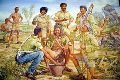 """Eritrea. Maekel province. Asmara. Hotel Intercontinental. Painting by Michael Rabba, 1994. """"Sharing rge Rabba"""". Eritrean soldiers fighting for the independence of Eritrea which occured in 1991. © 2006 Didier Ruef"""