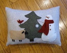 Let's decorate.....Snowman, Bird and Sheep Winter Christmas Pillow