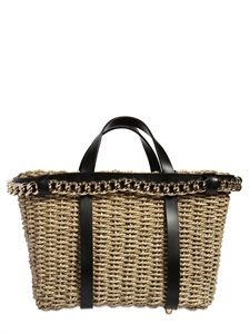 DSQUARED - STRAW AND LEATHER TOP HANDLE - LUISAVIAROMA - LUXURY SHOPPING WORLDWIDE SHIPPING - FLORENCE