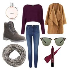 """""""outfit"""" by ellie-handibode ❤ liked on Polyvore featuring Topshop, maurices, Frame Denim, Timberland and Ray-Ban"""