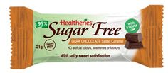 Healtheries 99% Sugar Free Dark Chocolate Salted Caramel offers salty sweet satisfaction. Gluten Free and naturally sweetened with Stevia. All natural flavours with NO artificial colours, sweeteners or preservatives. Available in single serve 21g bars
