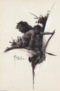 Original Comic Art:Paintings, Roy G. Krenkel - Tarzan and Jad-bal-Ja Painting Original Art(undated). Roy G. Krenkel extended the tradition of a romantic ... Image #1