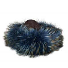 Gorro cahmere con pelo de zorro azul y marron www.sanci.es