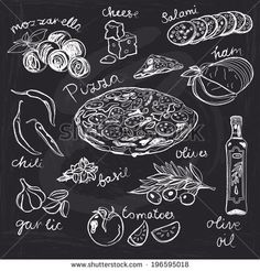 Hand drawn vector illustration. Pizza set. Vintage. Sketch. Chalkboard. - stock vector