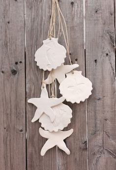 Starfish and Shell Garland six piece set white clay ornaments adds a touch of the beach