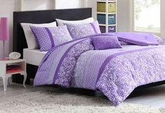 Purple COMFORTER Set Bedding TWIN Bed Floral Teen Girls Room Stripe Dot Blanket