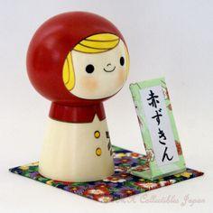 Lovely Creative Kokeshi Doll AKA-ZUKIN (LITTLE RED RIDING-HOOD) by Usaburo   卯三郎作 創作こけし「赤ずきん」です。私のハンドクラフトの銘板と台座付けてみました。