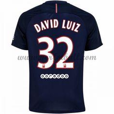 Billige Fotballdrakter Paris Saint Germain Psg 2016-17 David Luiz 32 Hjemme Draktsett Kortermet