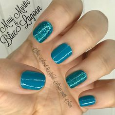 Color Street Maui Mystic with some Blue Lagoon accents! I love layering the glitters over the solids to really deepen the color. (If you're wearing the glitter strips alone I suggest double layering them to get the best shimmer.) #colorstreet #colorstreetnails #mauimystic #bluelagoon #blueglitter #bluenails #tealnails #summernails #tropicalnails #turquoise #csnails