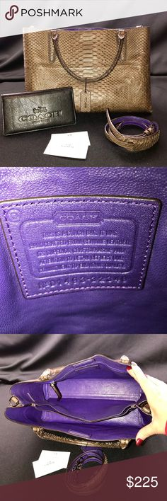 "Rare COACH Crocodile with purple interior CLEARING OUT MY CLOSET!  Bought this new in St Louis! Its a gem!  Used it a few times very little wear.  Comes with all you see. Clothes with a magnet.  I do not have the box or duct cover for this item. Accepting offers, and will consider trading for an item of equitable listed value.  Comes with a Coach check book cover that I used for notes and business cards. Coach  Brown and Purple Leather Satchel 13""L x 9""H x 5.5""W Item #: 21427319 Coach Bags…"