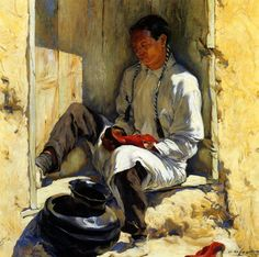 The Red Moccasins by Walter Ufer.