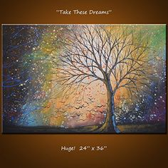 "Original Wall Art Landscape Large Painting Modern Contemporary Trees... 24 x 36 ... ""Take These Dreams"" by Amy Giacomelli. Original Wall Art Landscape Large Painting Modern Contemporary Trees... 24 x 36 ... ""Take These Dreams"" by Amy Giacomelli Original landscape art for your home or business! Not a print. Upscale and modern, large beautiful handmade painting ready to hang right out of the box. If you click on each main image, it will open up a new window with a larger view to see even…"