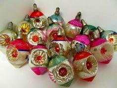 16 Vintage Christmas Light Bulbs-Indent Mercury Glass Ornaments-RARE-TESTED-WORK  $404.00