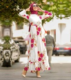 floral maxi dress-Hijab style summer 2018 – Just Trendy Girls