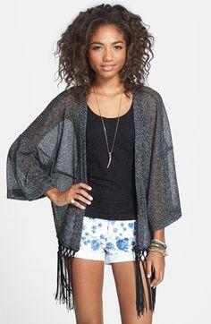 12ce3c03cf0 Rubbish® Fringed Kimono Cardigan (Juniors) available at  Nordstrom Fringe  Kimono