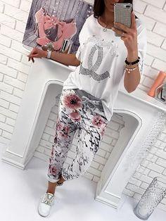 Vintage Floral Print Drawstring Stretchy Yoga Pants