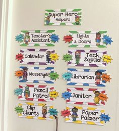Fun Super Hero themed job chart! Display easily anywhere in your classroom.