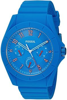 Fossil Men's Quartz Rubber and Silicone Automatic Watch, Color:Blue (Model: FS5219)