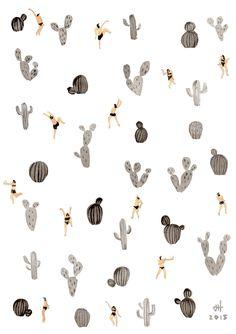 cacti pattern   black and white desert, by Joanne Ho at Helo Birdie
