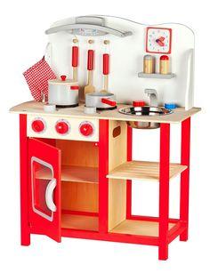 Cocina de juguete con accesorios Cocina de juguete de madera - Classic, rojo                                                                                                                                                                                 Más