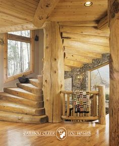 Huge, old growth, spiral staircase made of giant trees and handcrafted with care