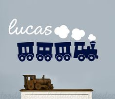 Train Wall Decal for boys - Train Vinyl Decal - Train wall sticker - Transportation Room Decor - Kids Name decal - Personalized Train Decal