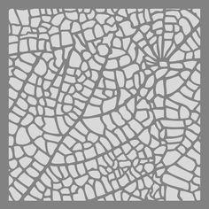 leaf veins on 6x6 stencil by PearlDesignStudio on Etsy