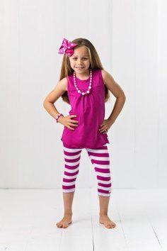 Razzle Pink & White Stripe Capri Legging Set