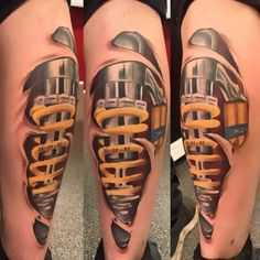 Realistic mechanical leg tattoo on leg click the pic for for Shock absorber tattoo