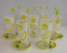 Vintage Culver Barware Set / 1960s Set of 7 Yellow by zestvintage