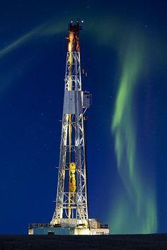 Potash Mine Drilling Rig & Northern Lights, Saskatchewan, Canada