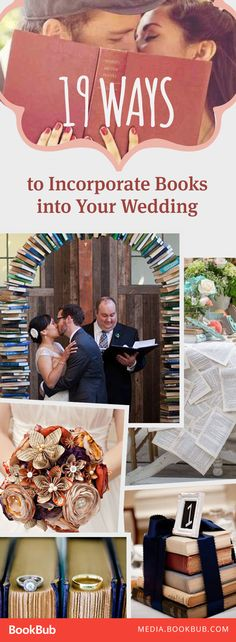 19 wedding ideas to incorporate books into your wedding. Including DIY and budget-friendly unique ideas!