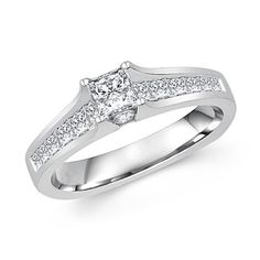 Perfect engagement ring with princess cut diamond in cathedral setting in white gold   MyBridalRing