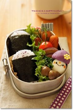purple potato & rice ball bento