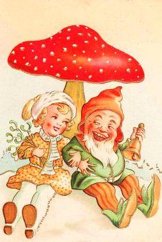 Vintage Christmas Card ~ Little Girl & Gnome ~ Orange Details