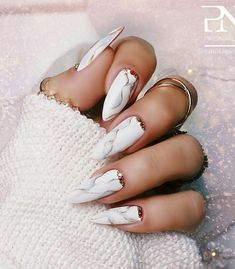 White marble almond nails long with rhinestones on cuticle area! - White marble almond nails long with rhinestones on cuticle area! Almond Nails French, White Almond Nails, Almond Nail Art, Long Almond Nails, Grey Nail Designs, Almond Nails Designs, Simple Nail Art Designs, Winter Nail Designs, Winter Nails 2019