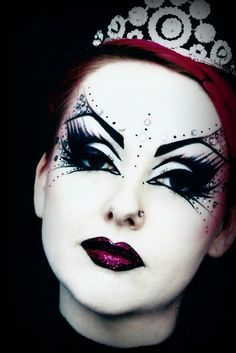 Fantasy makeup - love the touch of theatre in it - reminds me of The Mikado