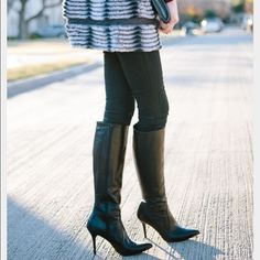 """Black Stiletto Boots Genuine leather Black stiletto boots worn once and in near perfect condition. They zip up the entire inner leg and have a 4"""" heel. Nine West Shoes Heeled Boots"""
