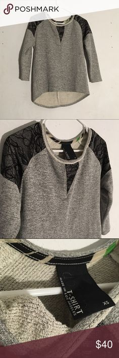 """Anthropologie Dolan French Terry Sweater Size: XS, could work for small, loose fit // heather grey sweater with black lace details on shoulder and chest • super soft and warm French terry • like new • high lo style • front: 21-22"""", back: 24"""" Anthropologie Sweaters Crew & Scoop Necks"""