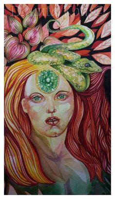 SolmilarArt: Akwarela:LILITH Decoupage, Folk, Watercolor, Painting, Art, Pen And Wash, Art Background, Watercolor Painting, Watercolour